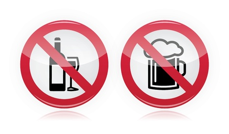 Drinking problem - no alcohol, no beer warning sign Stock Vector - 16807409