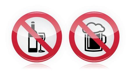 Drinking problem - no alcohol, no beer warning sign Stock Vector - 16807409