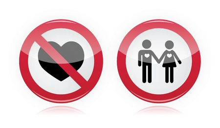 No love, no couples - forbidden, red warning sign Vector
