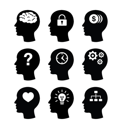 mind set: Head brain icons set