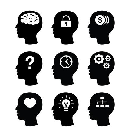 mente humana: Iconos de la cabeza del cerebro establecido
