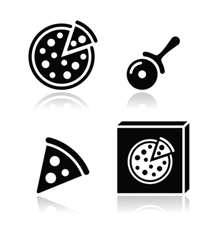 italian pizza: Pizza icons set with reflections Illustration