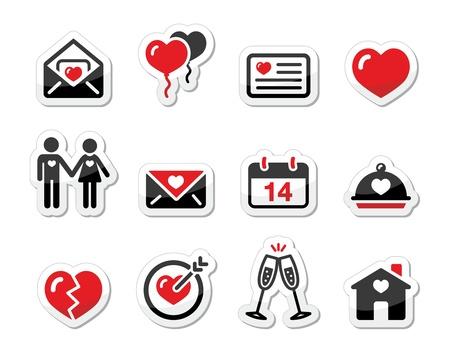 dating and romance: Icone di San Valentino d'amore ambientata come etichette Vettoriali