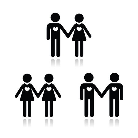 Hetero, gay, and lesbian love couples icons set Vector
