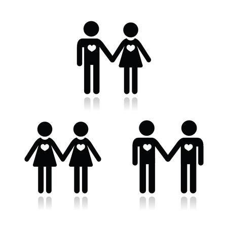 boda gay: Hetero, gay, lesbianas y parejas love icons set Vectores
