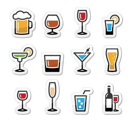 cocktail drinks: Drink alcohol beverage icons set as lalebs