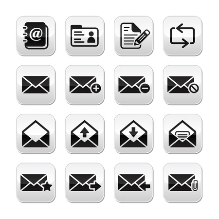 attachement: Email mailbox vector buttons set Illustration