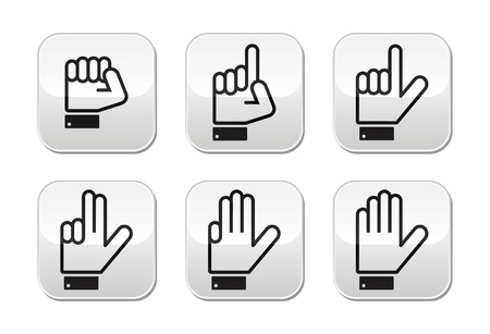 four hands: Counting hand signs - vector buttons isolated on white