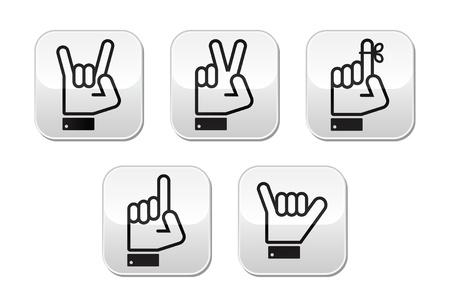 dedo me�ique: Gestos con las manos vector, se�ales y signos - la victoria, roca, botones de apuntar Vectores