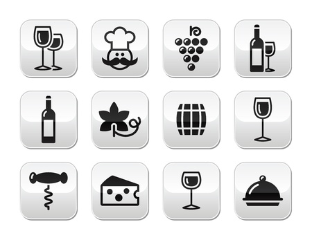 Wine buttons set - glass, bottle, restaurant, food Vector