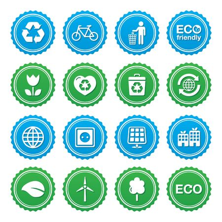 Eco green labels set - ecology, recycling, eco power concept Stock Vector - 16951116