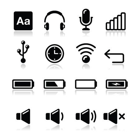 earphones: Electronic device   Computer software icons set - vector Illustration