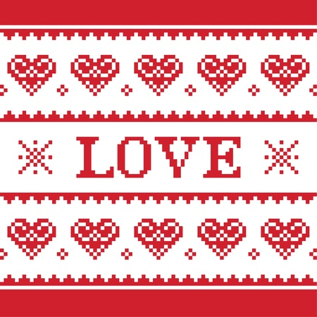Valentines Day, love knitted pattern, card - scandynavian sweater style Vector