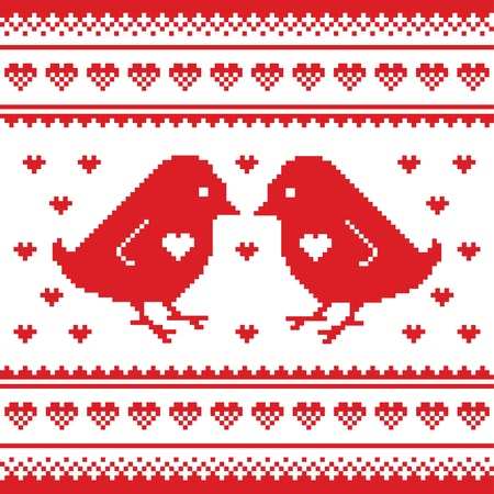 Valentines Day, love pixelated card with birds and hearts Vector