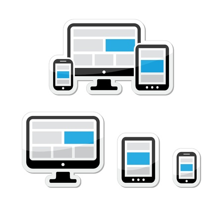 scalable set: Responsive design for web - computer screen, smartphone, tablet labels set
