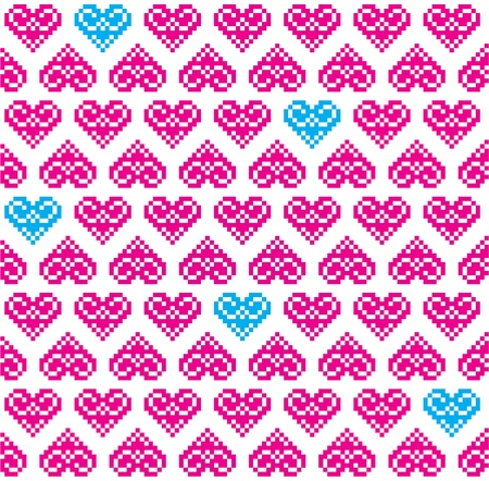 Heart pink seamless background, pattern - Valentines Day Vector