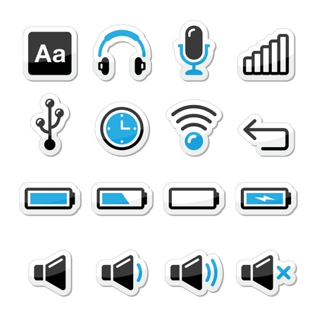 earphones: Electronic device   Computer software icons set as labels Illustration