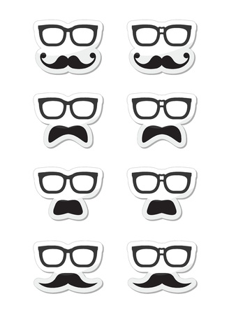 black head and moustache: Geek glasses and moustache or mustache vector labels
