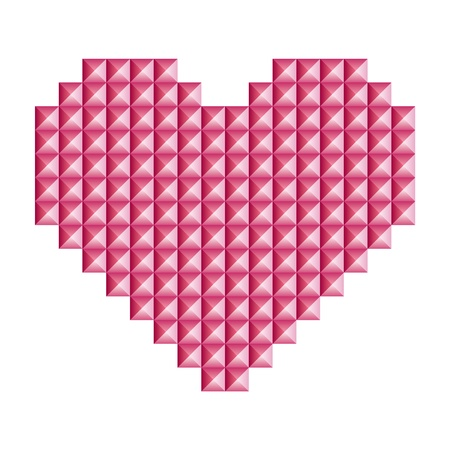 Love, heart symbol made of 3d abstract vector squares Vector