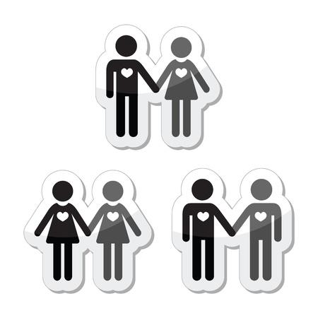 boda gay: Hetero, gay, lesbianas y parejas amorosas etiquetas establecer