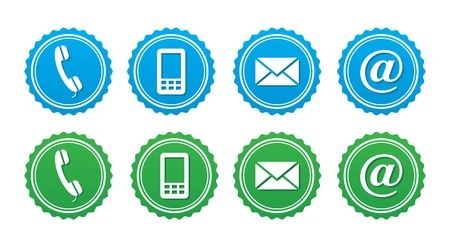 phone button: Contact retro labels set - blue and green   Illustration