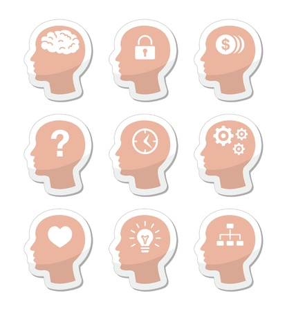 Head brain labels set Stock Vector - 17127320