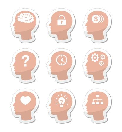 Head brain labels set Stock Vector - 17127320