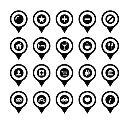 Map location markers, pointers vector icons set Vector