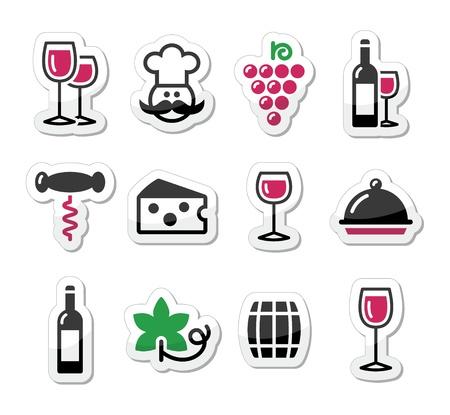 wijn en spijzen: Wijn etiketten set - glas, fles, restaurant, eten