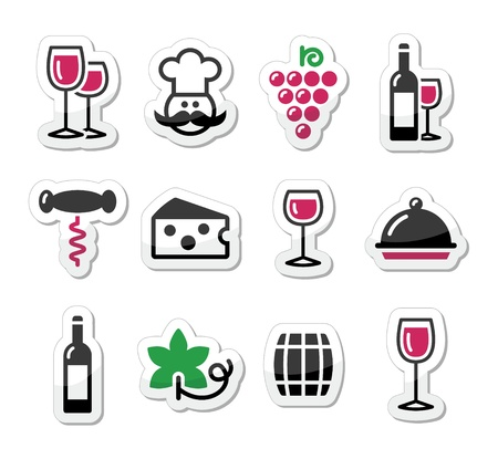 grapes on vine: Wine labels set - glass, bottle, restaurant, food