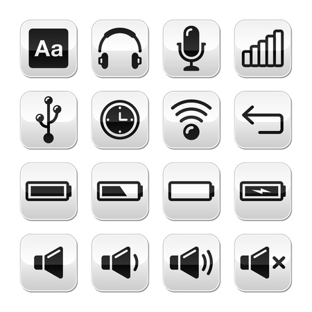 mute: Electronic device   Computer software buttons set - vector