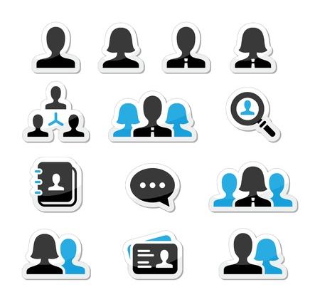 personas: Hombre de negocios empresaria iconos vectoriales conjunto de usuarios