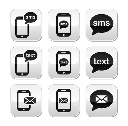 wireless technology: Mobile sms text message mail buttons set Illustration