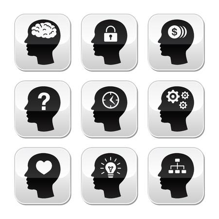 love of money: Head brain vector buttons set