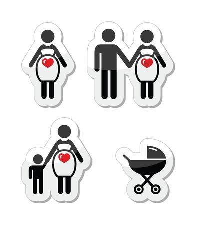 vecotr: Pregnant woman icons set
