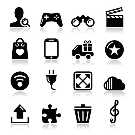 car plug: Web internet icons set - vector Illustration