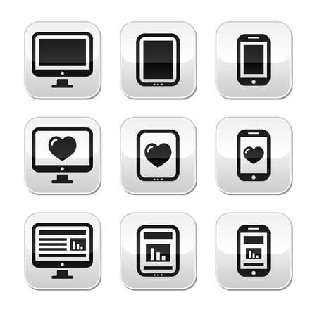 electronic devices: Responsive website design - computer screen, mobile, tablet buttons set