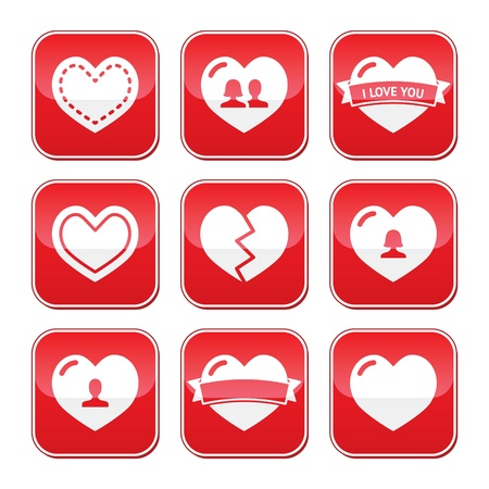 broken heart: Love hearts buttons set for Valentines Day Illustration