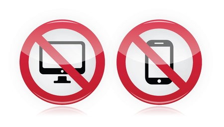 gadget: Pas d'ordinateur, pas de t�l�phone mobile ou cellulaire - interdit, panneau d'avertissement rouge Illustration