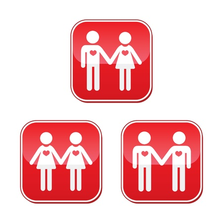 Hetero, gay, and lesbian love couples buttons set Vector