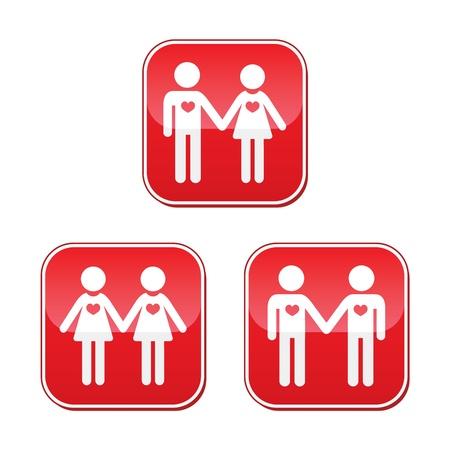 gay: Hetero, Homosexuell und lesbische Liebespaare Tasten eingestellt