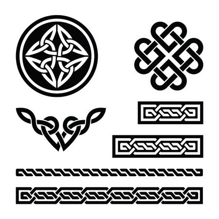 Noeuds celtiques, tresses et modèles - vecteur