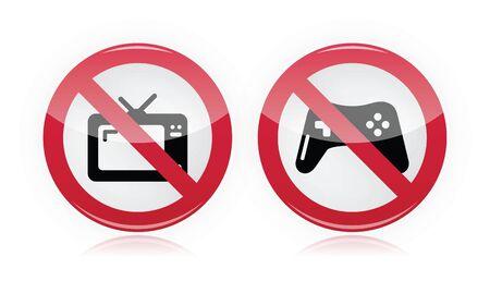 forbidden love: No computer games, no tv warning signs - vector Illustration
