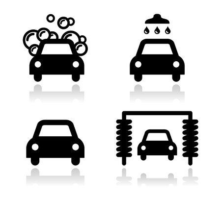 car plate: Car wash icons set - vector