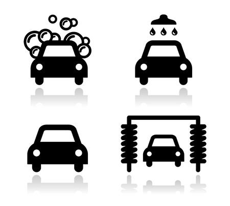 Lavado de coches juego de iconos - vector Ilustración de vector