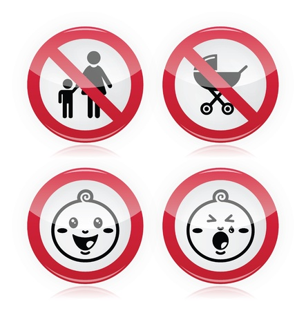 Warning sign  no babies, no children Vector