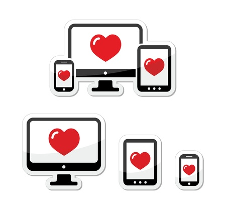 adapt: Responsive design icons - monitor, cell mobile phone, tablet Illustration