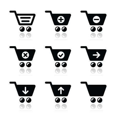 add to shopping cart icon: Shopping cart vector icons set