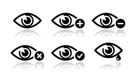 eye exams: Eye sight icons set - vector