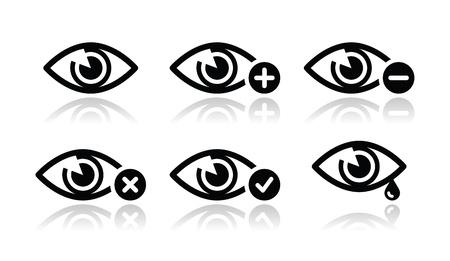 ojos llorando: Vista del ojo iconos conjunto - vector